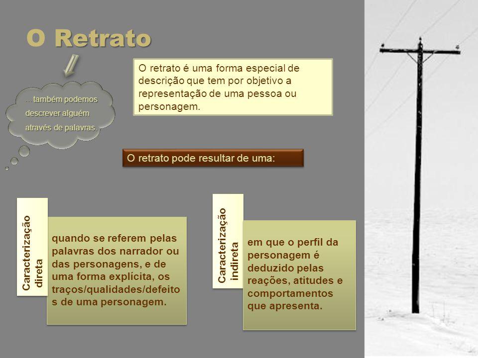 O Retrato O retrato é uma forma especial de descrição que tem por objetivo a representação de uma pessoa ou personagem.