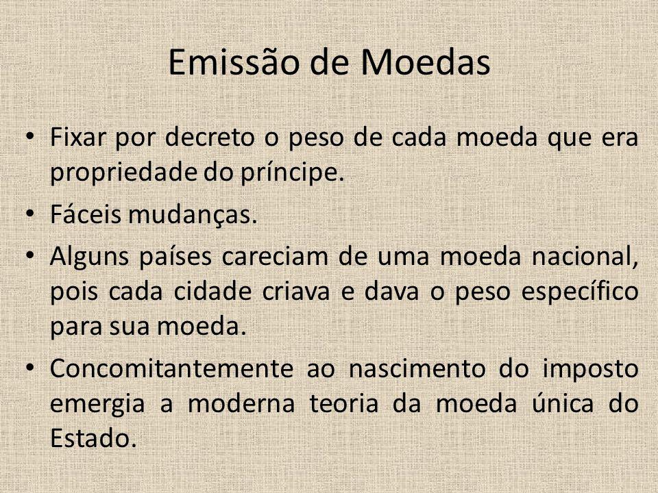 Emissão de Moedas Fixar por decreto o peso de cada moeda que era propriedade do príncipe. Fáceis mudanças.