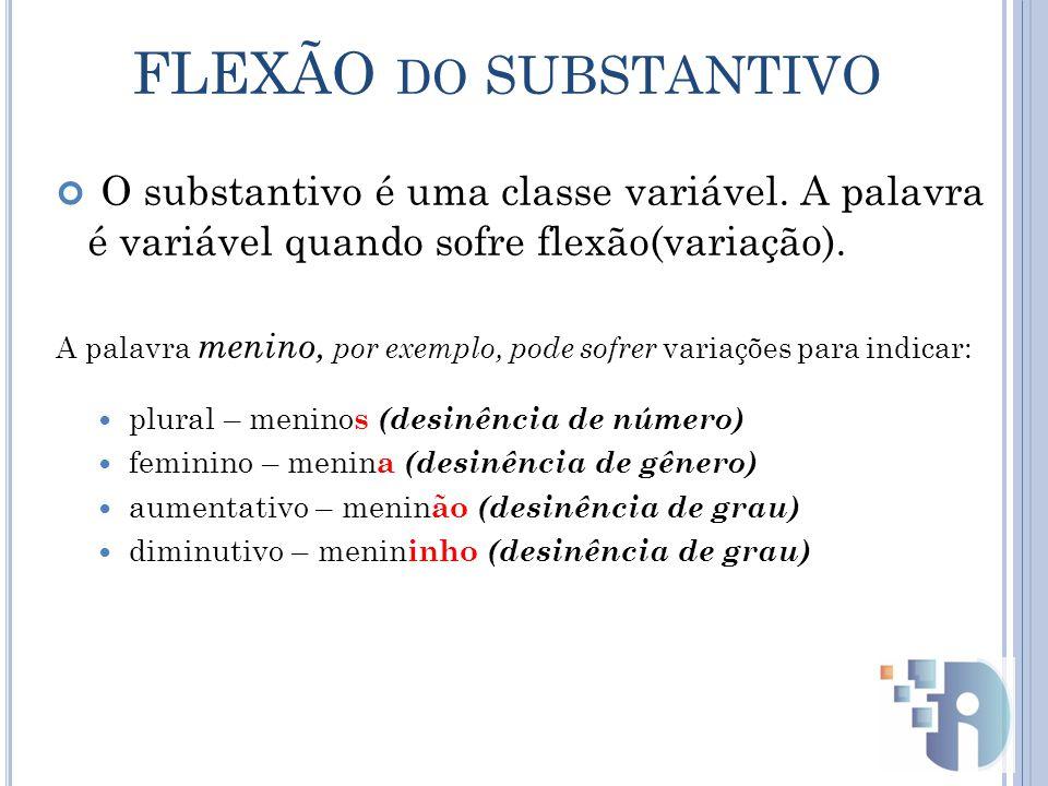 FLEXÃO do SUBSTANTIVO O substantivo é uma classe variável. A palavra é variável quando sofre flexão(variação).
