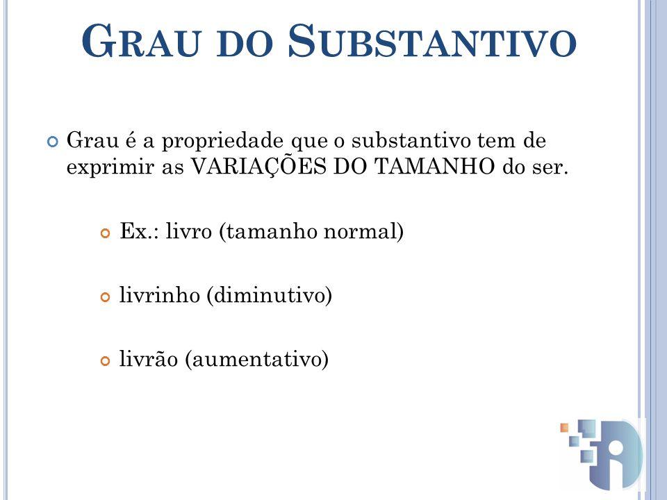 Grau do Substantivo Grau é a propriedade que o substantivo tem de exprimir as VARIAÇÕES DO TAMANHO do ser.