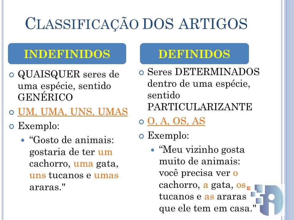 Classificação DOS ARTIGOS