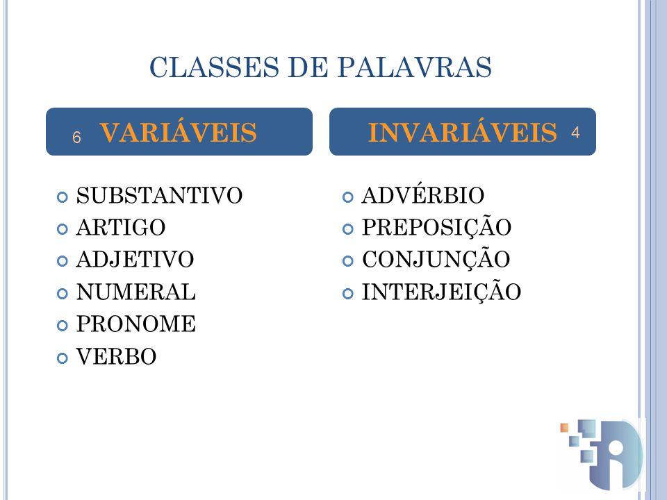 CLASSES DE PALAVRAS VARIÁVEIS INVARIÁVEIS SUBSTANTIVO ARTIGO ADJETIVO