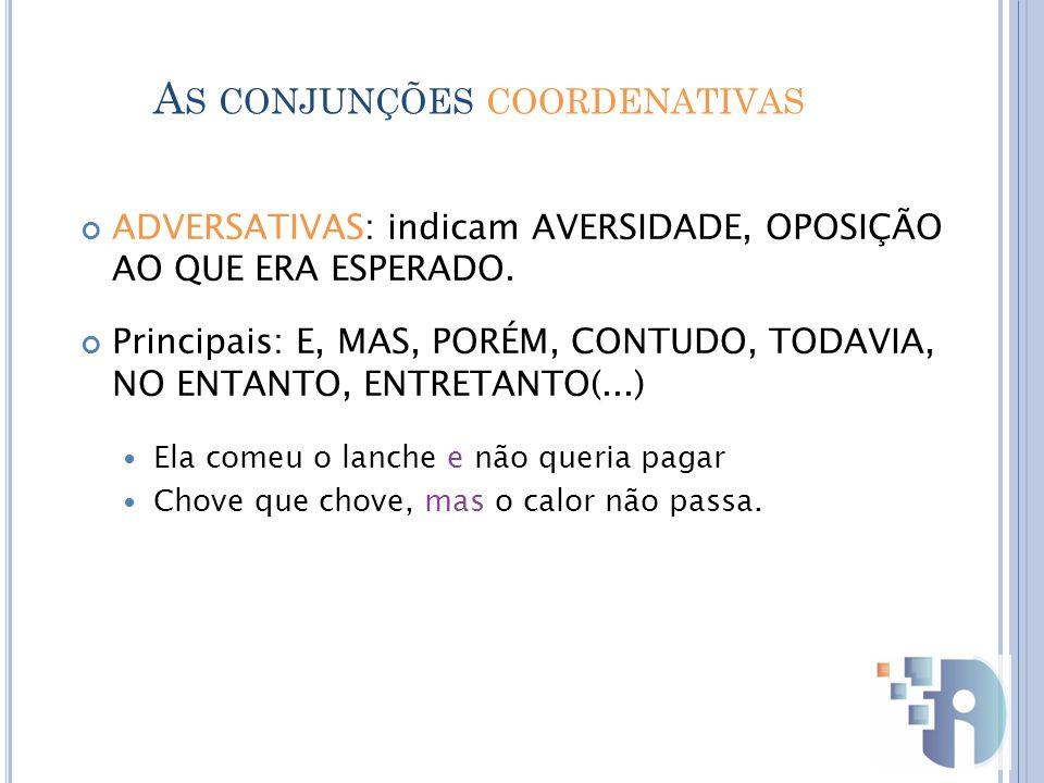 As conjunções coordenativas