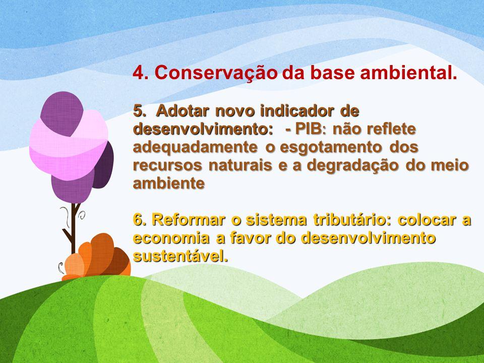 4. Conservação da base ambiental. 5