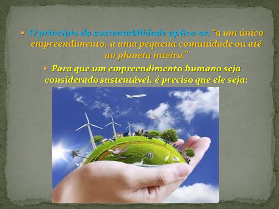 O princípio da sustentabilidade aplica-se: a um único empreendimento, a uma pequena comunidade ou até ao planeta inteiro.