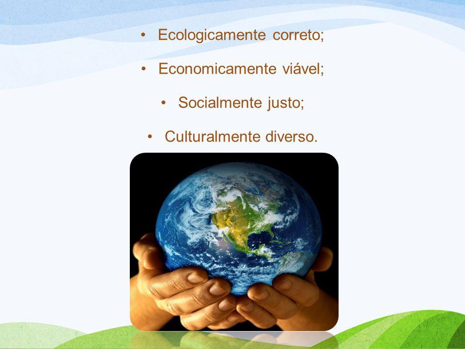 Ecologicamente correto; Economicamente viável; Socialmente justo;