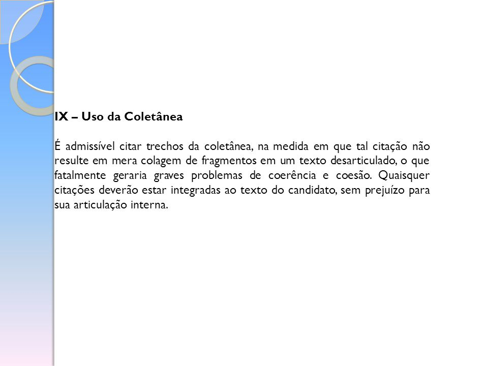 IX – Uso da Coletânea