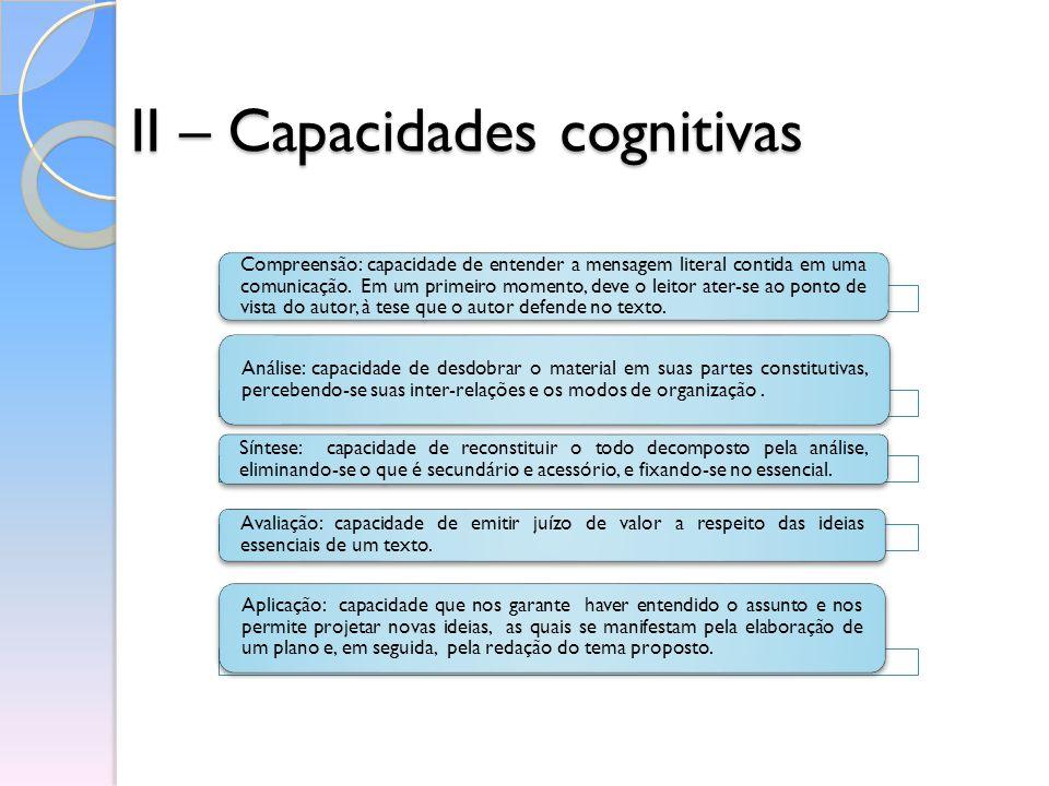 II – Capacidades cognitivas