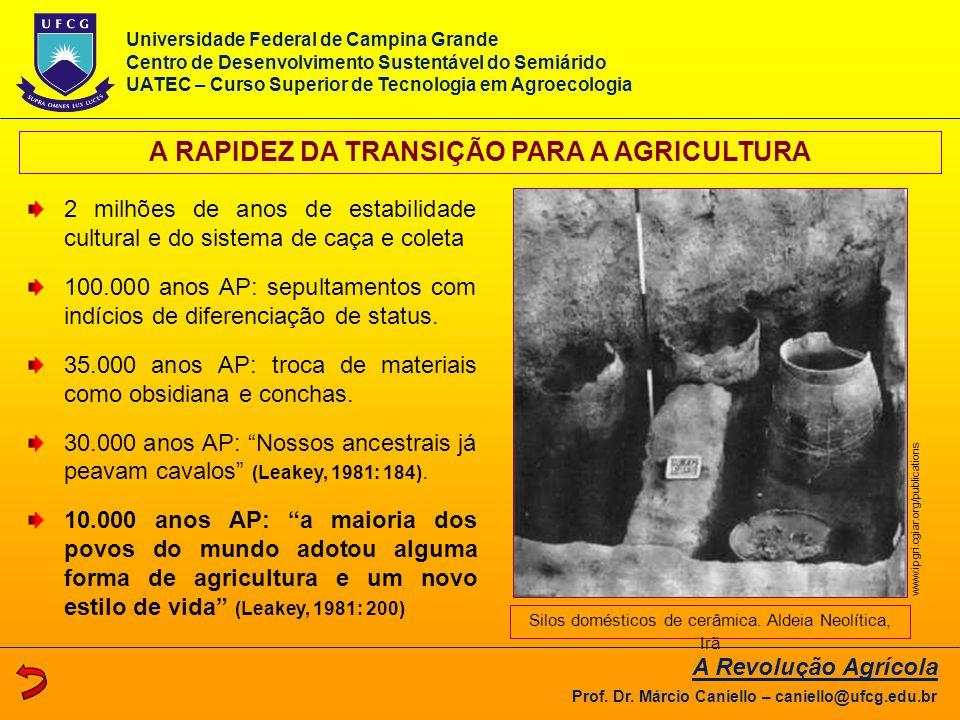 A RAPIDEZ DA TRANSIÇÃO PARA A AGRICULTURA