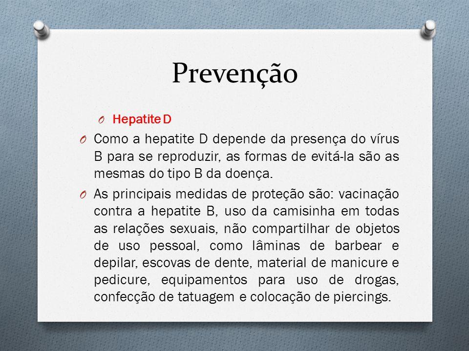 Prevenção Hepatite D. Como a hepatite D depende da presença do vírus B para se reproduzir, as formas de evitá-la são as mesmas do tipo B da doença.