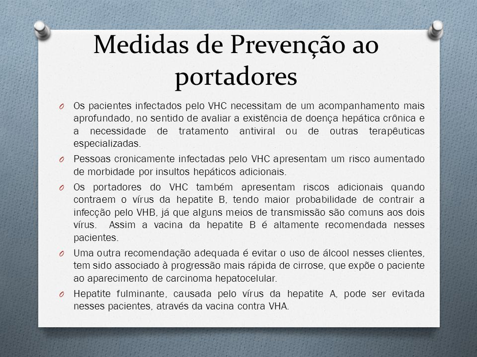 Medidas de Prevenção ao portadores