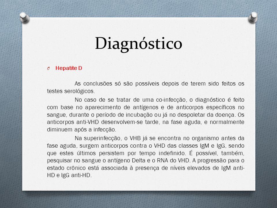Diagnóstico Hepatite D. As conclusões só são possíveis depois de terem sido feitos os testes serológicos.