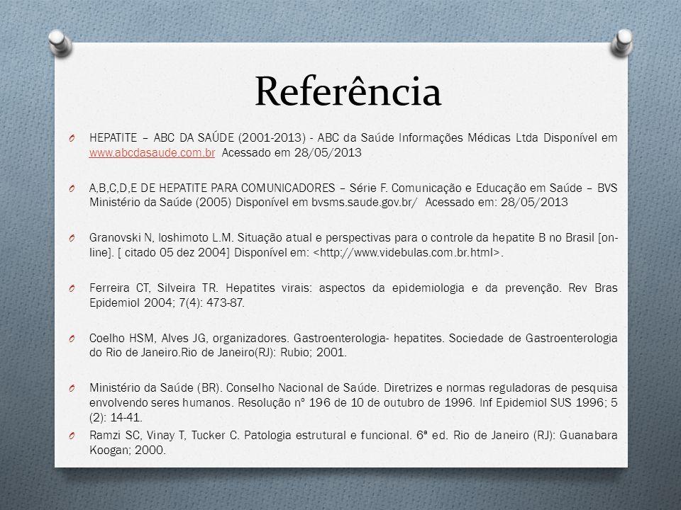 Referência HEPATITE – ABC DA SAÚDE (2001-2013) - ABC da Saúde Informações Médicas Ltda Disponível em www.abcdasaude.com.br Acessado em 28/05/2013.