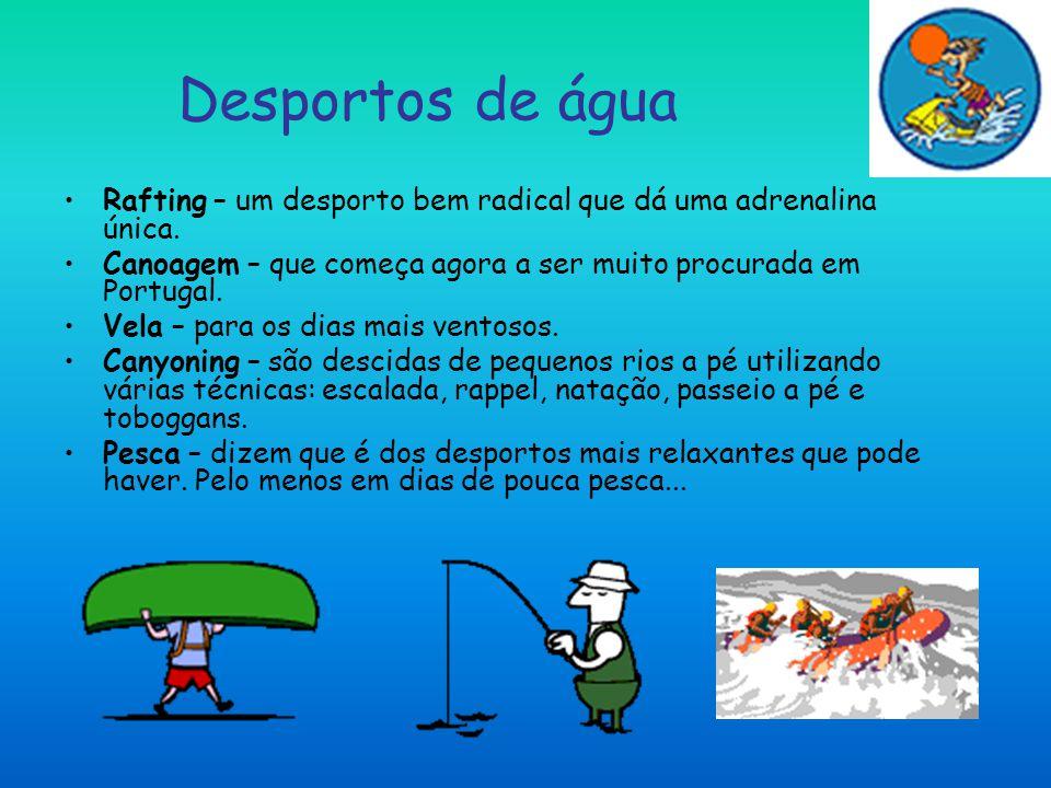 Desportos de água Rafting – um desporto bem radical que dá uma adrenalina única. Canoagem – que começa agora a ser muito procurada em Portugal.