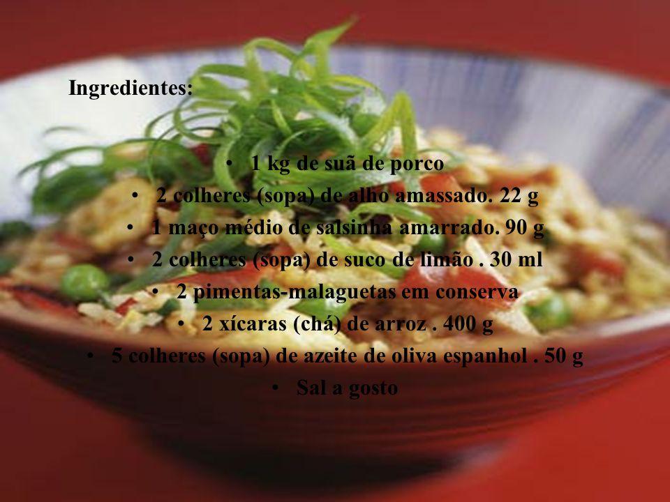 2 colheres (sopa) de alho amassado. 22 g