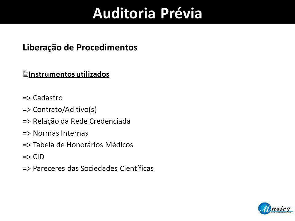 Auditoria Prévia Liberação de Procedimentos Instrumentos utilizados