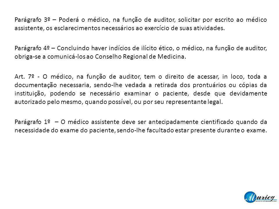 Parágrafo 3º – Poderá o médico, na função de auditor, solicitar por escrito ao médico assistente, os esclarecimentos necessários ao exercício de suas atividades.