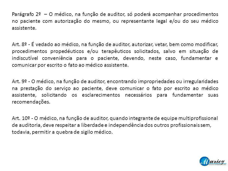 Parágrafo 2º – O médico, na função de auditor, só poderá acompanhar procedimentos no paciente com autorização do mesmo, ou representante legal e/ou do seu médico assistente.