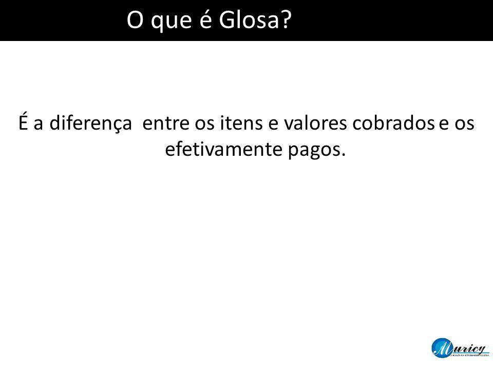 O que é Glosa É a diferença entre os itens e valores cobrados e os efetivamente pagos.