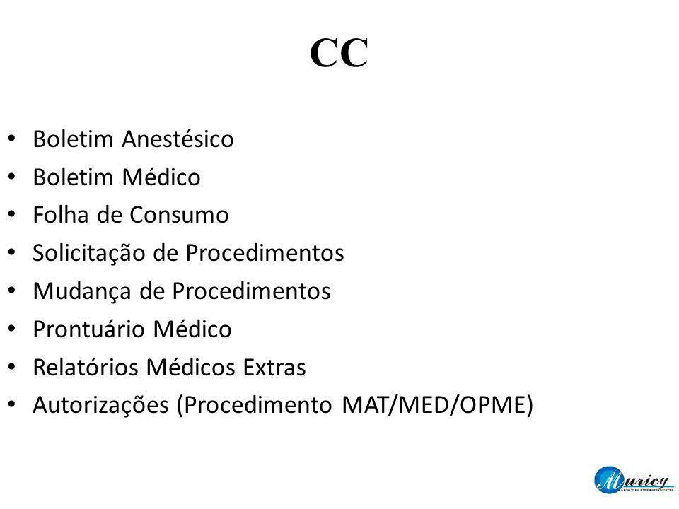 CC Boletim Anestésico Boletim Médico Folha de Consumo