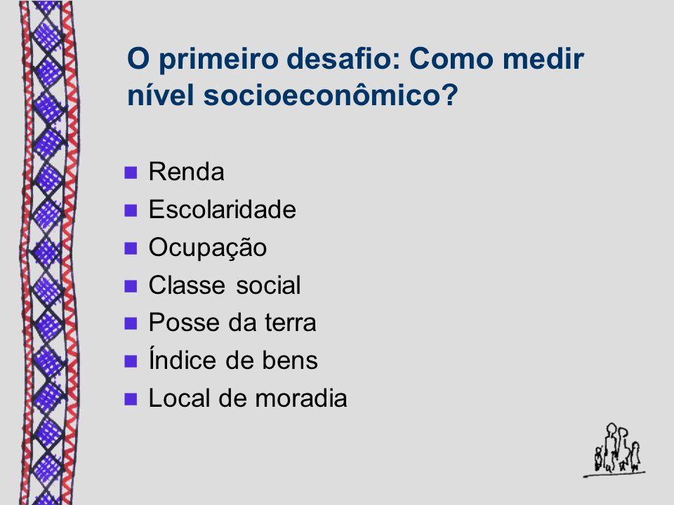 O primeiro desafio: Como medir nível socioeconômico