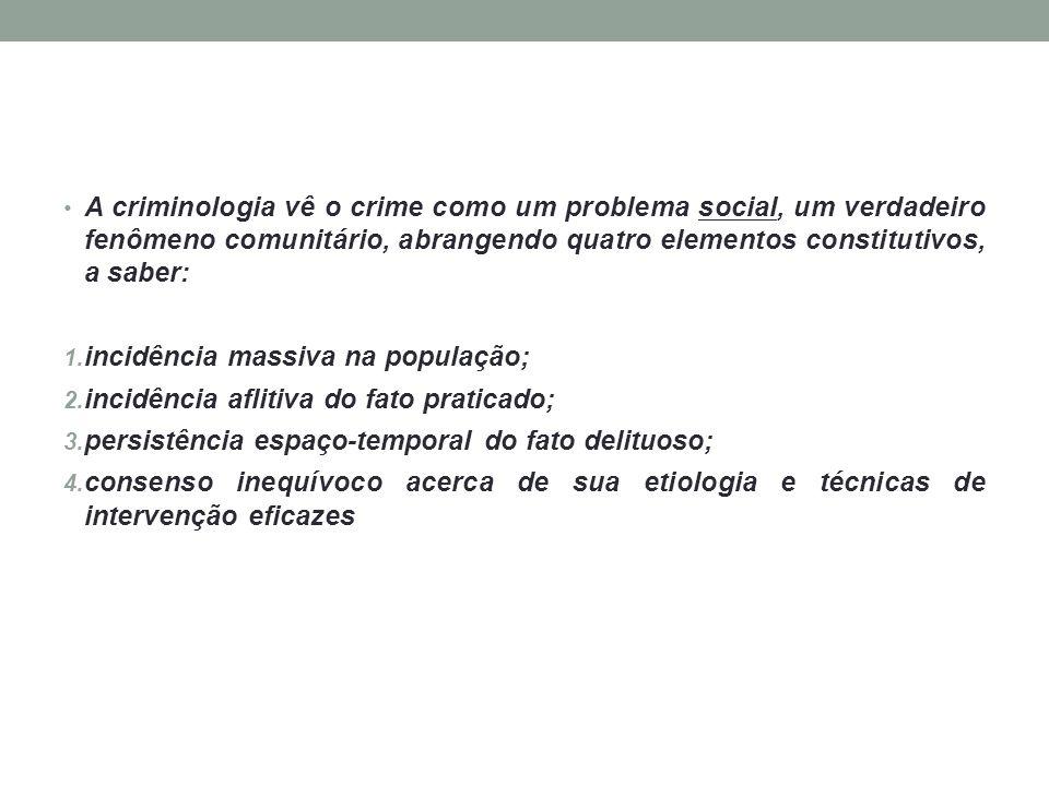 A criminologia vê o crime como um problema social, um verdadeiro fenômeno comunitário, abrangendo quatro elementos constitutivos, a saber: