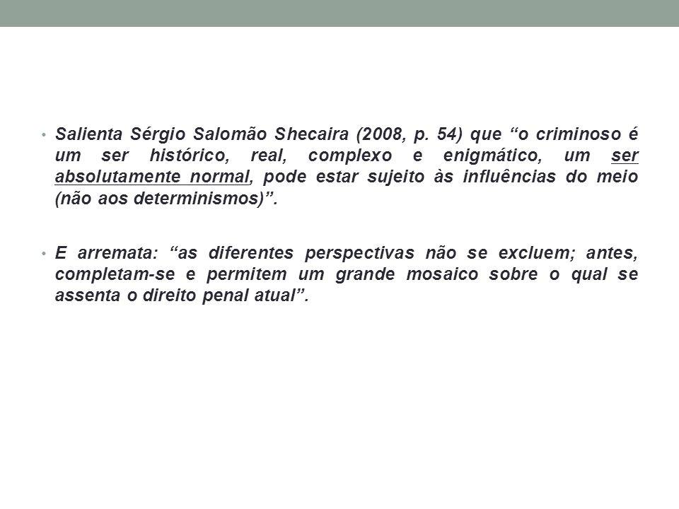 Salienta Sérgio Salomão Shecaira (2008, p