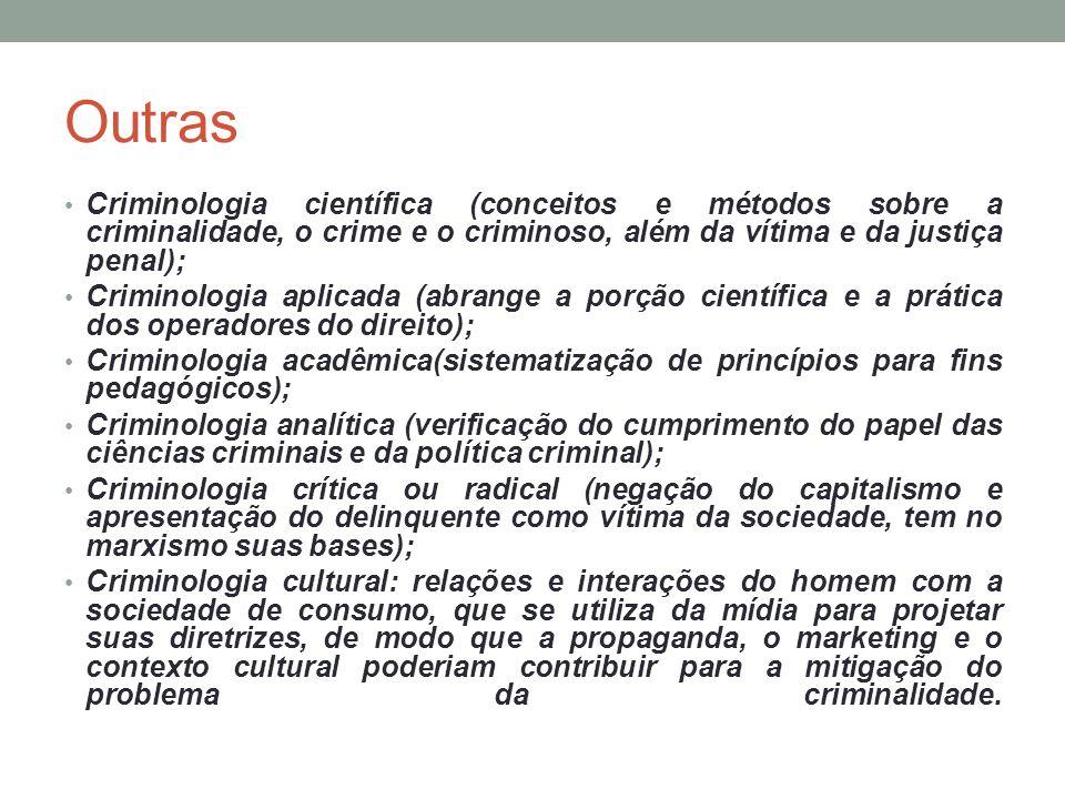 Outras Criminologia científica (conceitos e métodos sobre a criminalidade, o crime e o criminoso, além da vítima e da justiça penal);