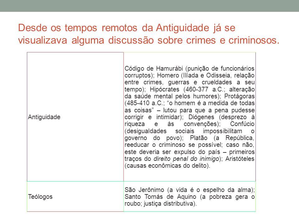 Desde os tempos remotos da Antiguidade já se visualizava alguma discussão sobre crimes e criminosos.
