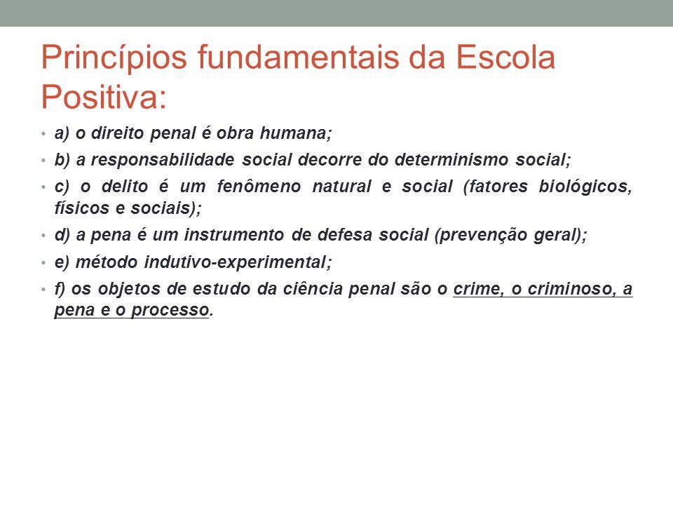 Princípios fundamentais da Escola Positiva: