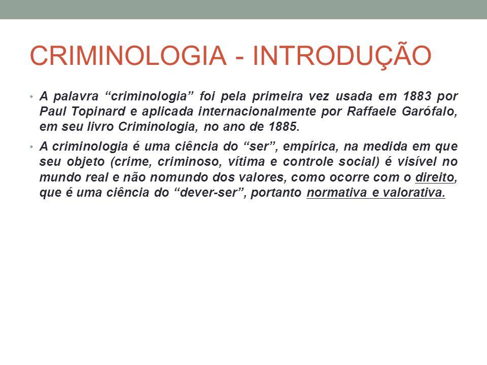 CRIMINOLOGIA - INTRODUÇÃO