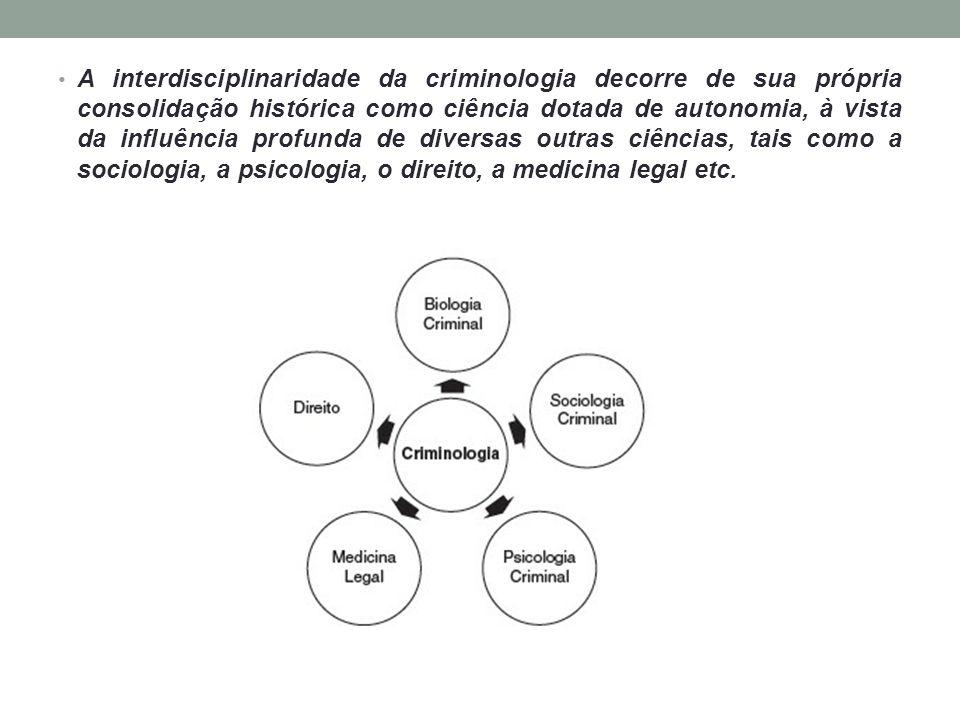 A interdisciplinaridade da criminologia decorre de sua própria consolidação histórica como ciência dotada de autonomia, à vista da influência profunda de diversas outras ciências, tais como a sociologia, a psicologia, o direito, a medicina legal etc.