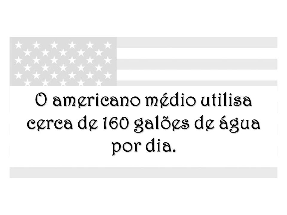 O americano médio utilisa cerca de 160 galões de água por dia.