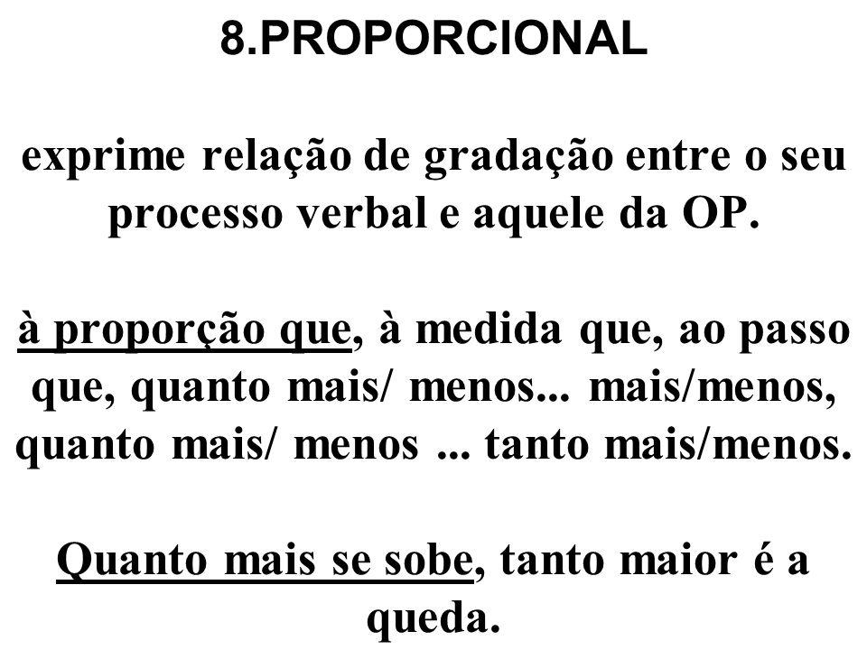8.PROPORCIONAL exprime relação de gradação entre o seu processo verbal e aquele da OP.