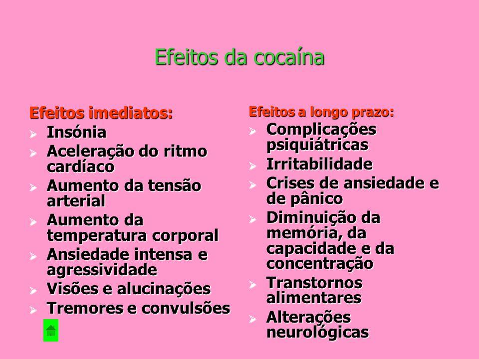 Efeitos da cocaína Efeitos imediatos: Insónia