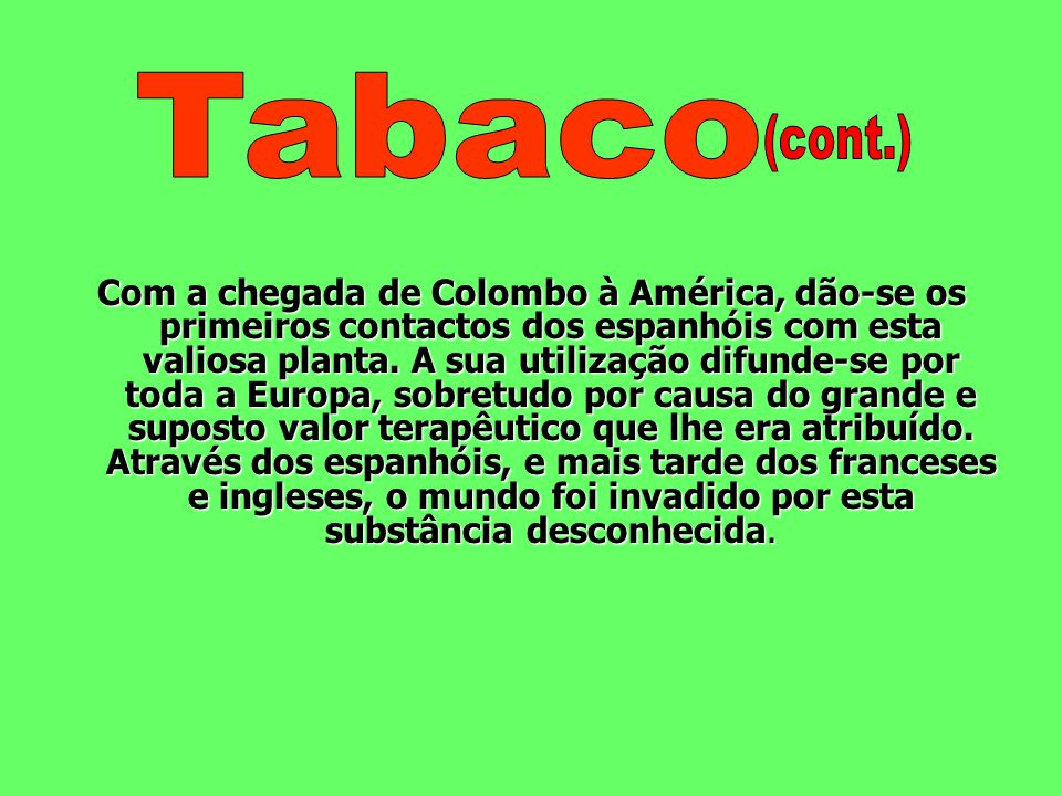 Tabaco (cont.)
