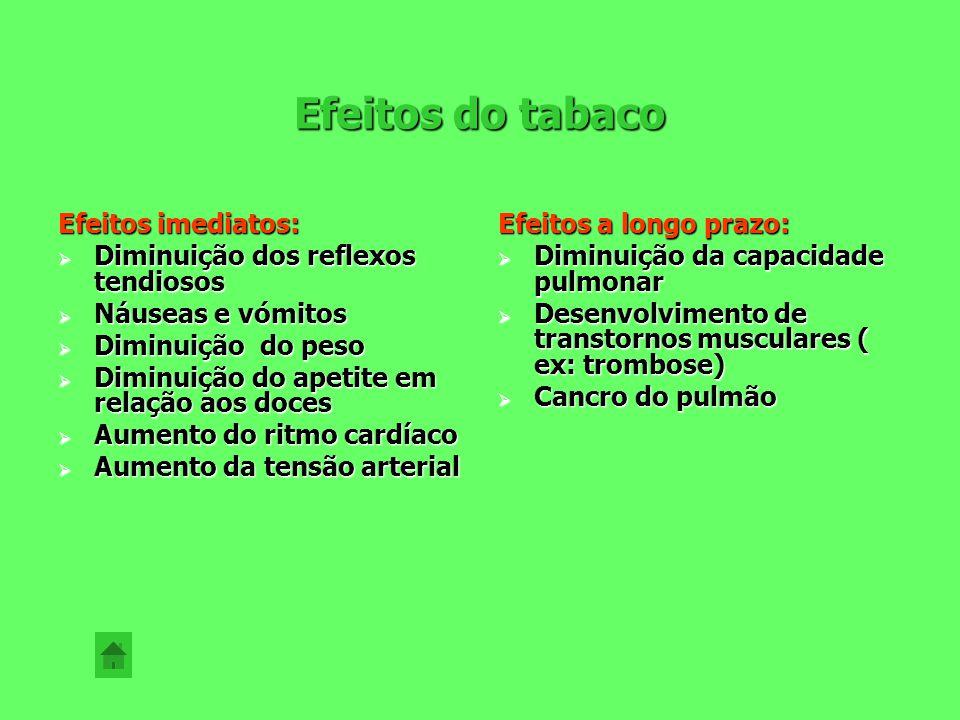 Efeitos do tabaco Efeitos imediatos: Diminuição dos reflexos tendiosos
