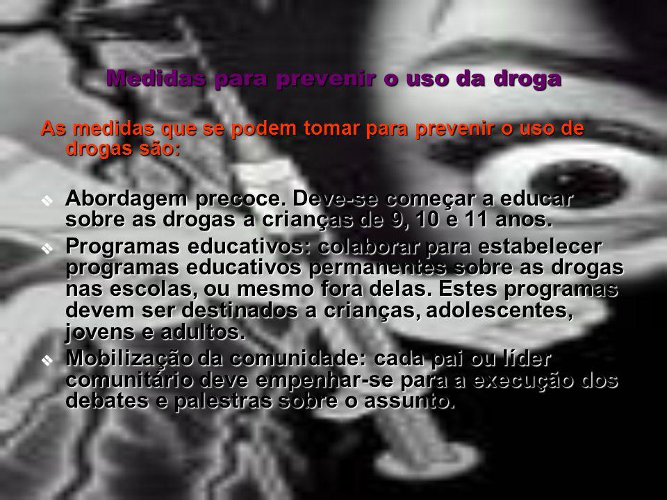 Medidas para prevenir o uso da droga
