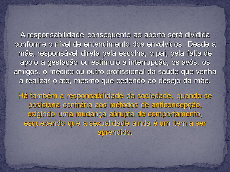 A responsabilidade consequente ao aborto será dividida conforme o nível de entendimento dos envolvidos.