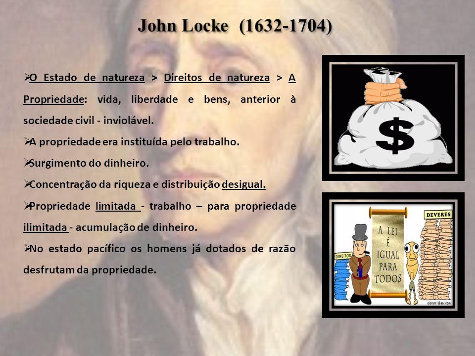 John Locke (1632-1704) O Estado de natureza > Direitos de natureza > A Propriedade: vida, liberdade e bens, anterior à sociedade civil - inviolável.