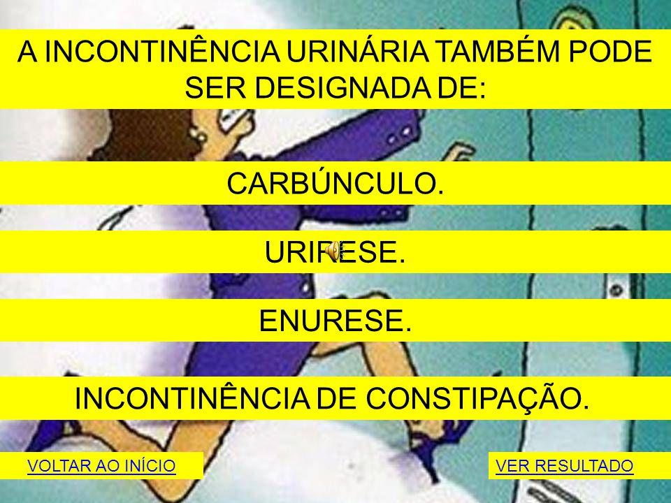 A INCONTINÊNCIA URINÁRIA TAMBÉM PODE SER DESIGNADA DE: