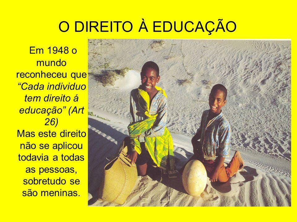 O DIREITO À EDUCAÇÃO Em 1948 o mundo reconheceu que Cada individuo tem direito á educação (Art 26)