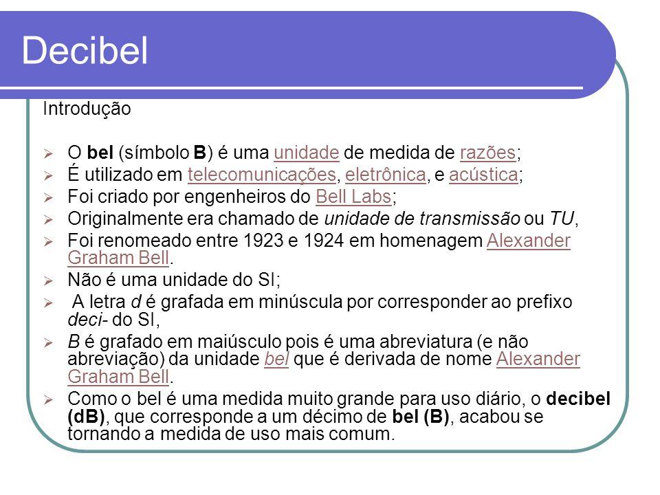Decibel Introdução. O bel (símbolo B) é uma unidade de medida de razões; É utilizado em telecomunicações, eletrônica, e acústica;