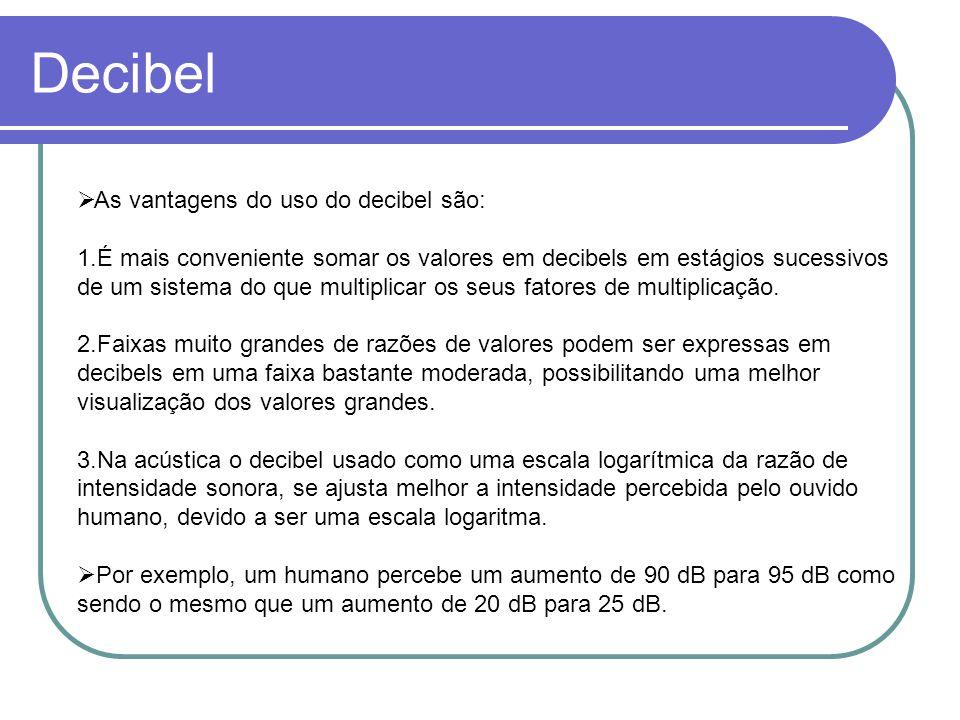 Decibel As vantagens do uso do decibel são: