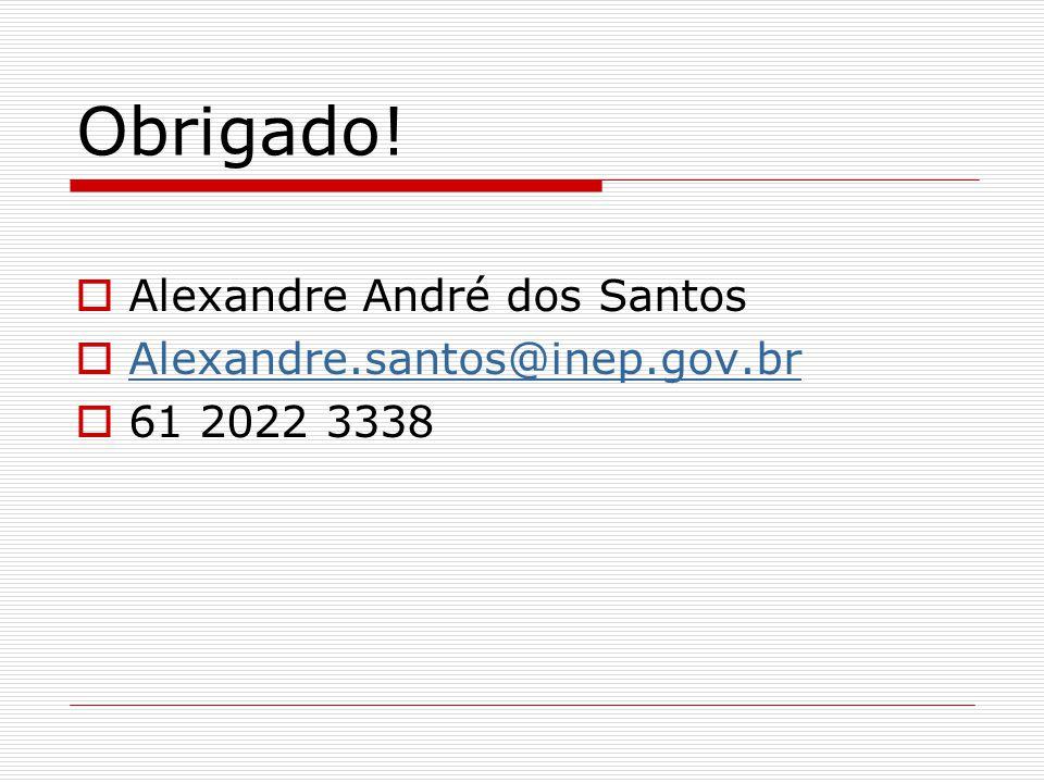 Obrigado! Alexandre André dos Santos Alexandre.santos@inep.gov.br