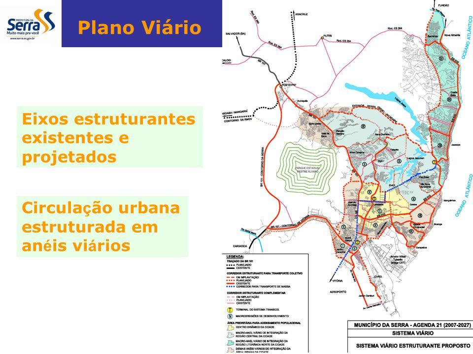 Plano Viário Eixos estruturantes existentes e projetados