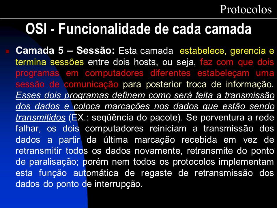 OSI - Funcionalidade de cada camada