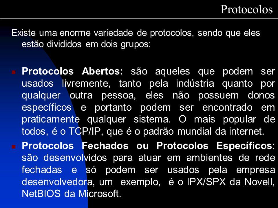 Protocolos Existe uma enorme variedade de protocolos, sendo que eles estão divididos em dois grupos: