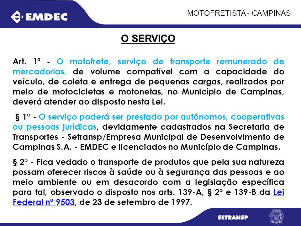 MOTOFRETISTA - CAMPINAS