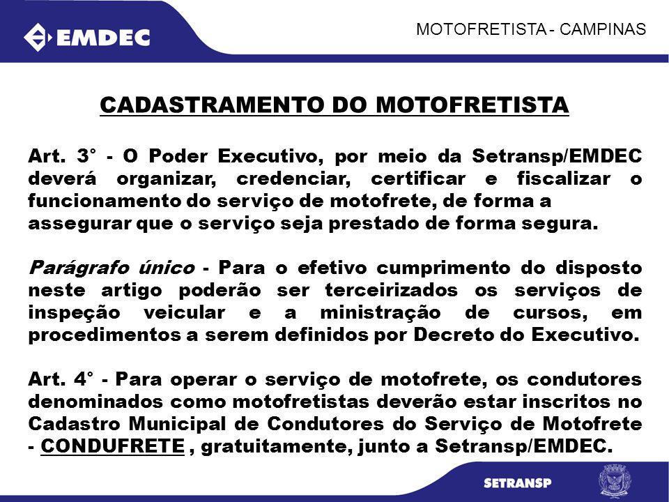 CADASTRAMENTO DO MOTOFRETISTA